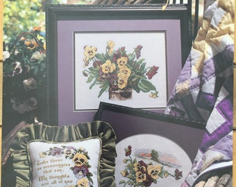 Pansies In Profusion counted cross stitch pattern