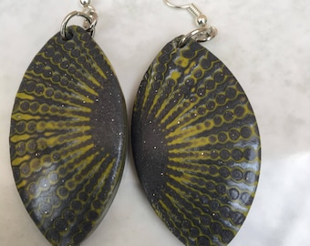 yellow and grey earrings polymer clay