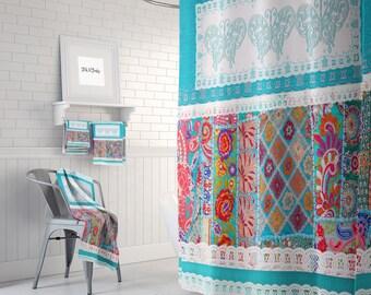 Shower Curtain ,Turquoise Shabby Boho   Bath Mat, Towels