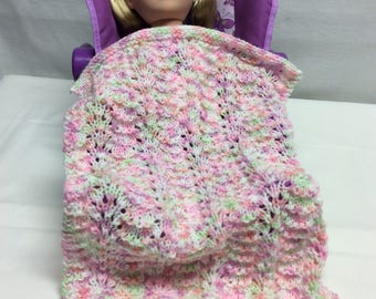 "Knit doll blanket for 18"" doll"