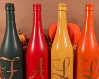 FALL Wine Bottle Set - Autumn Wine Bottle Decor - Fall Home or Party Centerpiece