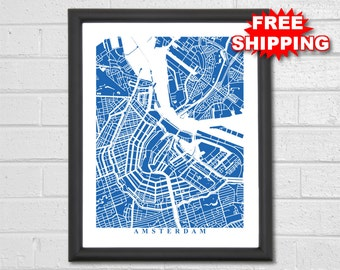 Europe map poster etsy amsterdam map art custom map netherlands amsterdam poster travel gift europe publicscrutiny Image collections