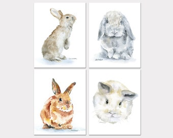Bunny Rabbit Watercolor Animal Art Prints Nursery Childrens Room Set of 4 Bunnies PORTRAIT-Vertical Orientation