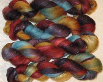 Handpainted Roving -- Organic Polwarth/Silk