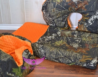 Mossy Oak Camo and Orange Bumbo Cover, Changing Pad Cover and Boppy Pillow Cover Set