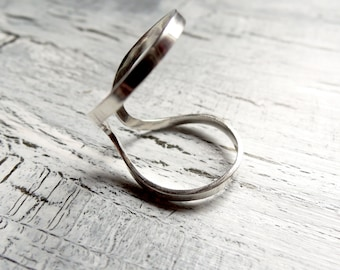 Open Armor Ring - Double Knuckle Ring Minimal Modern Adjustable - Eco-Friendly Sustainable Silver - Sterling Silver 925 - Made to Order