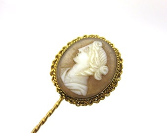 Edwardian Cameo Stick Pin Brooch - Left Facing Cameo Carved Shell Jewelry