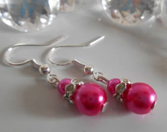 Wedding earrings Fuchsia beads and rhinestones
