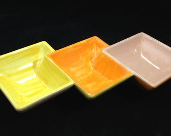 Vintage 3 Part 4 1/2 Inch Square Connected Bowls in Yellow, Orange and Pink    01631
