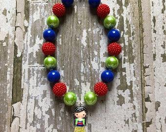 Disney Mulan Necklace - Holiday Necklace and Bracelet Set -Disney Gift - Mulan Necklace for Girls - Mulan Chunky Bead Necklace