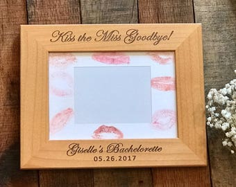 Bridal Gift, Personalized Wedding Frame, Kiss the Mrs Goodbye, Bride to Be Gift, Bachelorette Party Decor, Bridal Shower Gift, Bride Frame