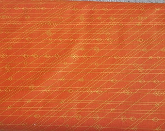 Alison Glass Diving Board Latitude in Crab Orange Fabric by the Yard