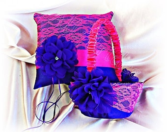 Purple and hot pink wedding ring pillow and flower girl basket -  lace ring bearer pillow and basket