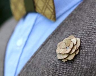 """Wooden Lapel Flower- """"Plymouth"""""""