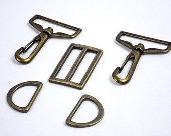 "Purse Hardware Set, Antique Brass Bag Hardware, 1.5"" Swivel Hooks +1"" D-Rings + 1.5"" Strap Slide, Bag Making Supplies @ MeiMei Supplies"