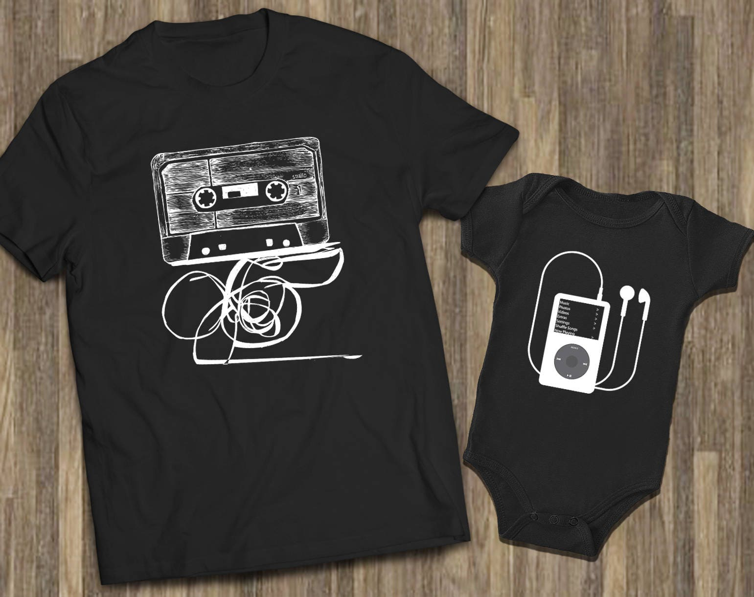 father son baby dad son shirts cassette ipod shirts