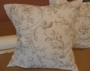 Two handmade Laura Ashley cushions in scrollworks in grey