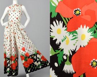 1960s Oscar de la Renta Poppy Print Jumpsuit Wide Leg Palazzo Summer Jumpsuit 28 Shop  Designer Vintage