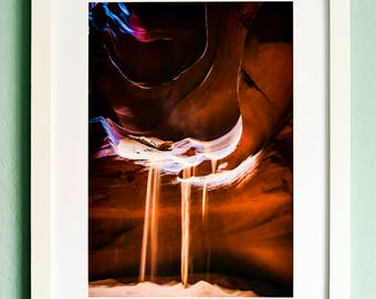 Antelope Canyon, Flowing Sand, Upper Antelope Canyon, Slot Canyon, Framed Print, Framed Photograph, Nature Photography, Matted Photograph