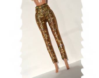 Sparkling gold stretch Leggings, fashion doll clothes,barbie clothes, holographic leggings, doll clothes, handmade doll clothes, barbie