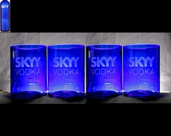 Skyy Vodka Premium Rocks Glasses (4 Set), Christmas Gift, Father's Day, Home Bar, Housewarming, Anniversary, Wedding, Mother's Day Gift
