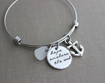 hope anchors the soul, stainless steel adjustable beach bangle bracelet, silver pewter anchor charm, genuine sea glass  in choice of color