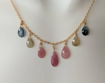 Beautiful sapphire necklace. Elegant Pink sapphires and pale yellow/green sapphires necklace.  REAL sapphire gemstone necklace