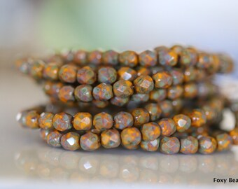 6mm Faceted Round Czech Glass Beads, Yellow Picasso Finish Fire Polished Faceted Beads CZFB017