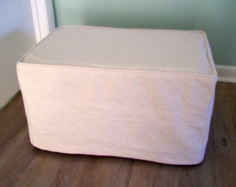 Ottoman Slipcover with Welt Cord Ottoman Cover Cube Cover Bench Cover