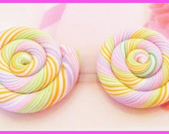 2 fimo polymer clay lollipop cabochons - scrapbooking