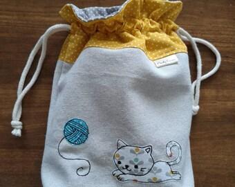 Cat medium knitting project bag, kitten drawstring bag, cat crochet project bag, sock project drawstring pouch, cat knitting bag, yarn bag
