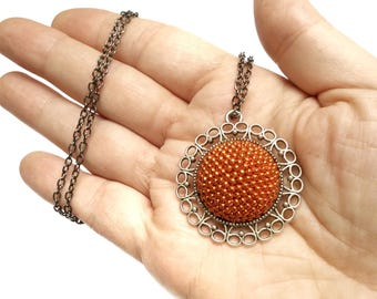 Crochet pendant necklace • Beaded necklace • Rust pendant • Vintage necklace • Bead crochet necklace • Christmas gift • Christmas gift