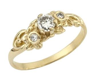 Picturesque Floral Gold Diamond Engagement Ring, April Birthstone Ring, Unique Diamond Engagement Ring, Diamond Jewelry, Diamond Birthstone