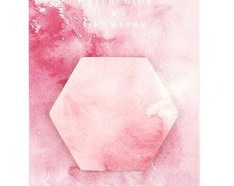 Watercolour Geometry Shapes Sticky Notes Hexagon Pink