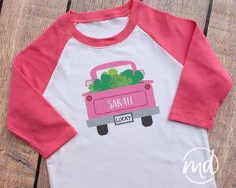 st patricks day girls shirt personalized, st patricks day girls raglan, st paddys day shirt for girls, green raglan shamrock