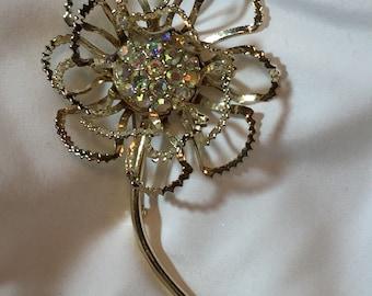 Vtg Sarah Coventry Lrg Single Flower Brooch Pen Rhinestones Silver Tone Floral