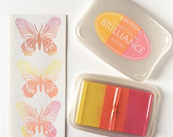 Aurora Brilliance, ink pad, 3 color ink pad, pigmented ink, stamp supply, pearlescent, archival ink