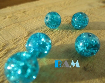 Set of 5 turquoise 10mm cracked glass beads