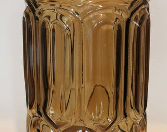 Large Moon and Star Smoke / Brown Colored Glass Canister Jar