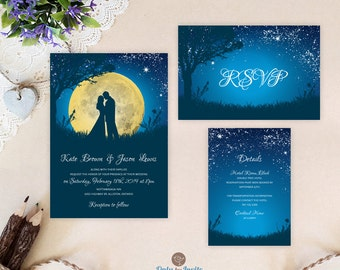 Starry night wedding invitations and rsvp postcards purple cheap wedding invitation sets starry night wedding invitations printed bride and groom wedding invitation filmwisefo Image collections