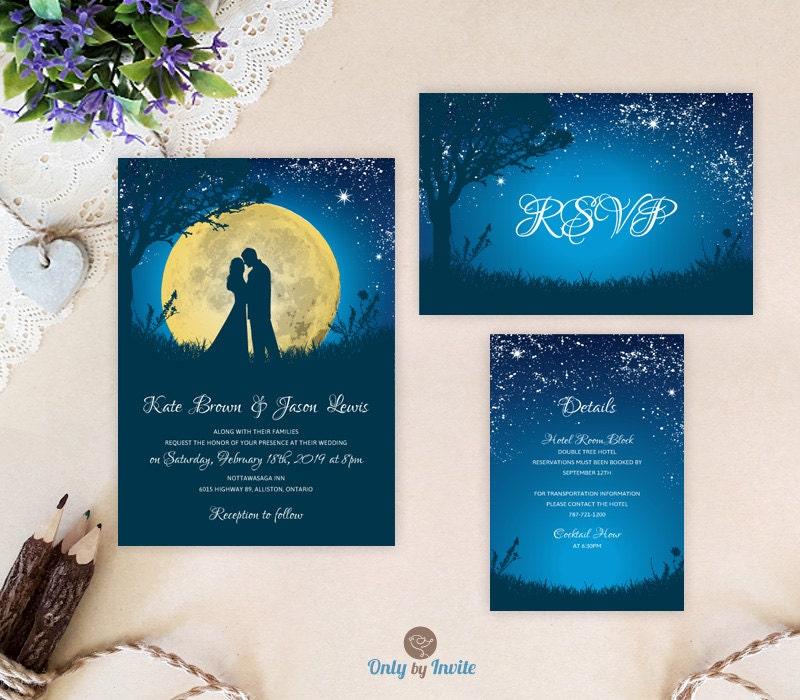 Cheap Printed Wedding Invitations: Moon Night Wedding Invitation Set Blue Starry Night Wedding