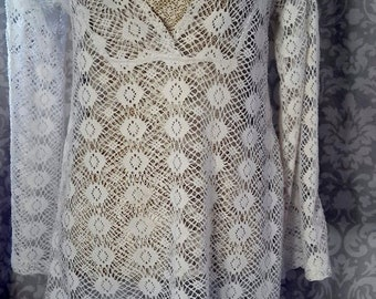White lace smock top, white tunic top, smock dress, prarie dress/ top, summer top, festival top, beach, uk 12-14, usa 10-12