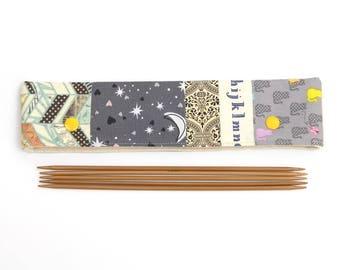 Patchwork DPN cozy for 20cm / 8 inch sock knitting needles, padded DPN holder pouch