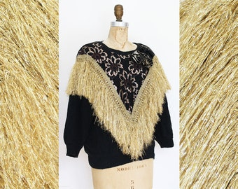 ALL THAT GLITTERS 80s Gold Fringe Metallic Floral Knit Sweater / Size Small