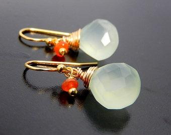 Light Green Teardrop Earrings, Gold Chalcedony Drop Earrings, Carnelian Dangles, Orange and Green
