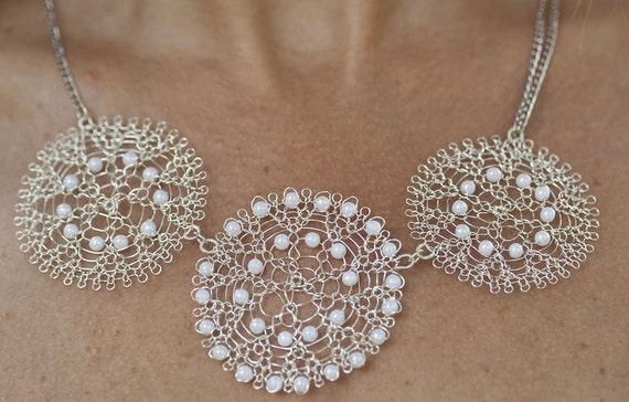 Perle Halskette zierliche Halskette Hochzeitsschmuck Draht