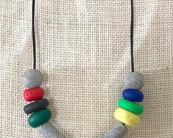 Grey, green and blue handmade polymer clay chunky necklace, 70cm polyester cord with breakaway clasp