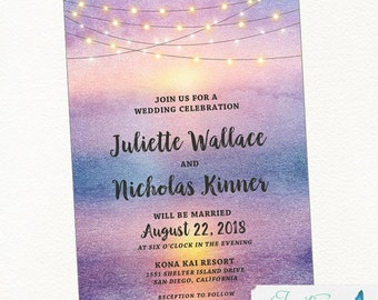 Beach Wedding Invitation, Sunset Wedding Invitation, Tropical Wedding Invitation, Palm Tree Wedding Invitation, Destination Wedding