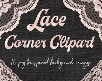 Lace Clipart, Coral Lace Corners, Lace Corner Borders, Border Overlays, Cottage Chic Laces, Wedding Invites, Baby Shower, BUY12FOR15