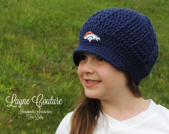 The Original- Denver Broncos Inspired Crochet Newsboy Hat with Patch / NFL Baby / Football Baby
